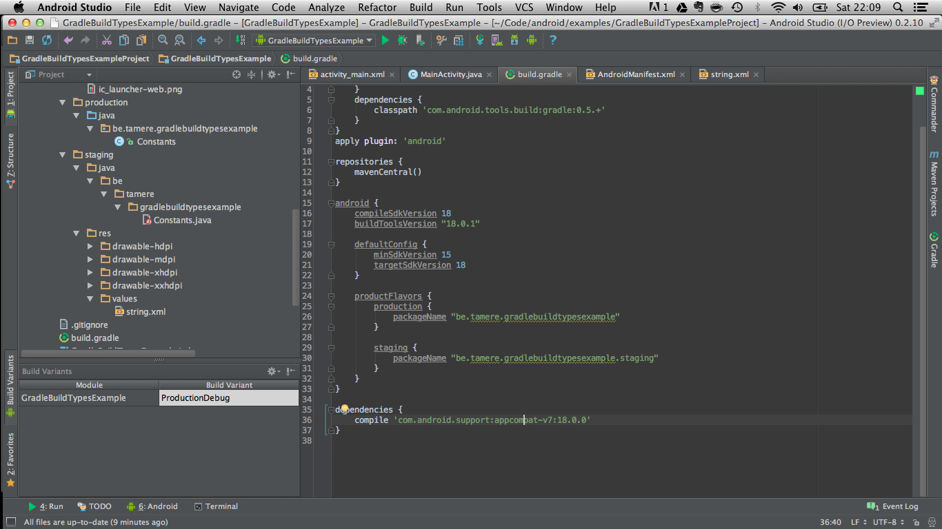 Android Studio IDE showing different build variants