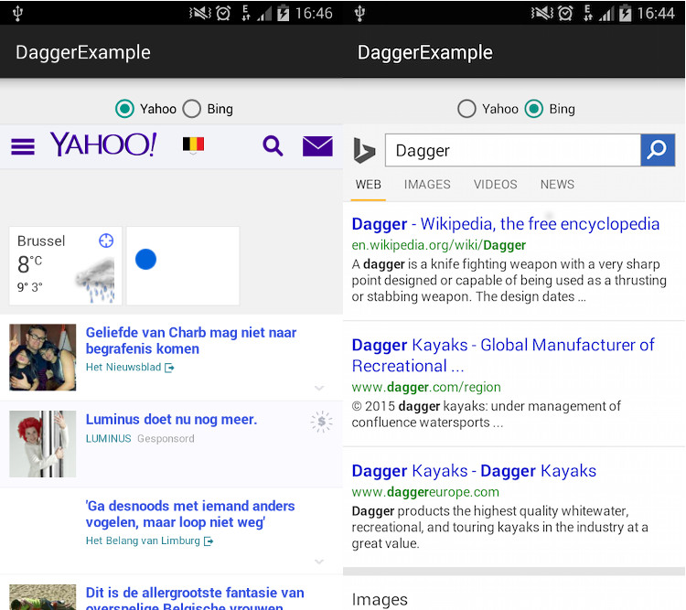 The Webview displaying Bing and Yahoo search